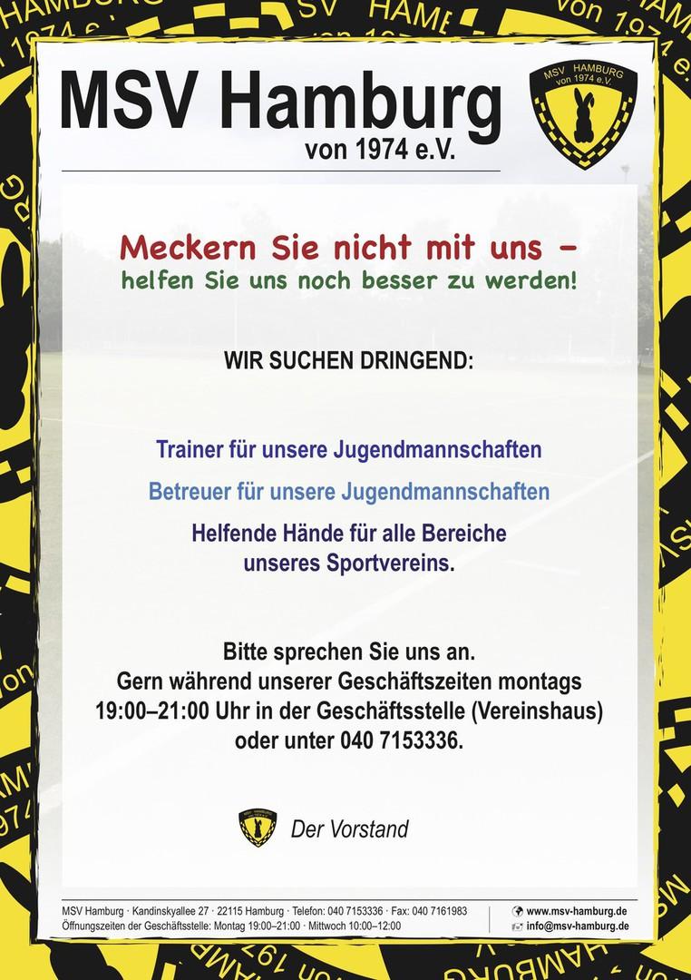 Helfende Hände für den MSV Hamburg gesucht